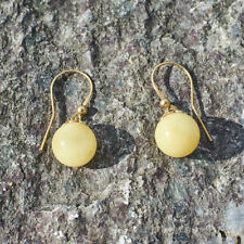 Natural Baltic Amber Earrings Gold Plated Sterling Silver White Amber Festive