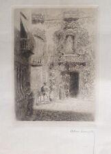 Alexandre LUNOIS 1860-1930.Parvis d'ėglise andalouse.Eau-forte.17x11.SBD.