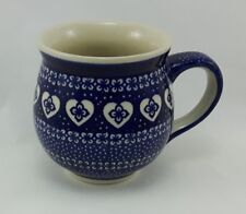Bunzlauer Keramik Tasse BÖHMISCH  - Herzen - blau/weiß - 0,45 Liter, (K068-DSS)