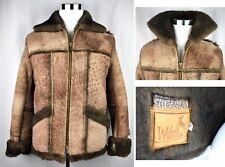 VTG WEBERS Deerskin Shearling Sheepskin Leather Jacket Western Marlboro S 36
