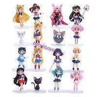 Anime Sailor Moon Mars Mercury Jupiter Venus Chibi Mini PVC Figure 16pcs/set