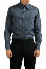 Camicie classiche da uomo grigie a fantasia righe