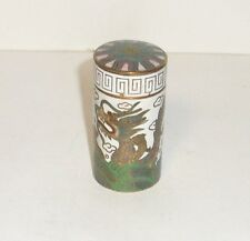 WHITE CLOISONNE ENAMEL DRAGON TALL CANISTER SNUFF PILL BOX