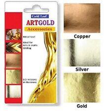 300 Gold Silver Copper Leaf Sheets Art Crafts Design Gilding 70mm X 40mm