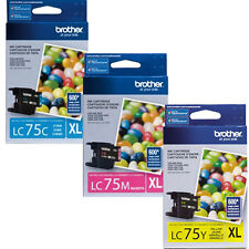 Brother LC75 XL Color Set C M Y Genuine Ink Cartridges For J5910DW J625DW J835DW