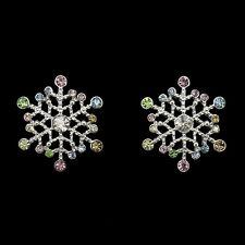 Snowflake Winter Christmas Stud Earrings Costume Jewelry Crystal Multi-color New