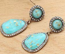 Woman's Blue Crystal Rhinestone Silver Plated Long Ear Stud Hoop earrings 232