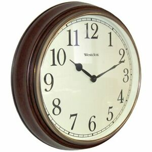 "Westclox Quartz Wall Clock 15.5"" Brown Quartz Movement Glass 73004P"