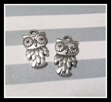 BULK Charms Antiqued Silver Owl Charms Pendants Wholesale Charms 50 pieces