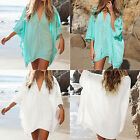 Women Boho Summer Blouse Beachwear Swimwear Bikini Cover Up Kaftan Blouse Dress