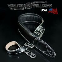 Walker & Williams C-22 Extra Wide Double Padded Black Leather Guitar Strap