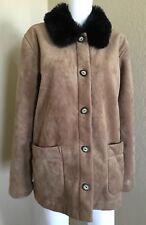 County Clothing Co. Women's Jacket Sz Large Sueded Faux Fur Trim Camel Color