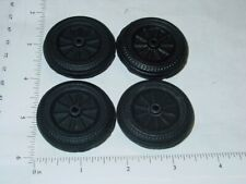 Set of 4 Wyandotte Black Rubber Simulated Spoke Wheel/Tire Toy Parts WYP-010B-4