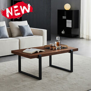 Minimalist Coffee Table Black Metal Frame With Walnut Top- SQUARE COFFEE TABLE