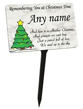 Personalised Christmas Tree Memorial Plaque & Stake with Name. garden grave