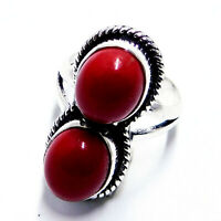 Red Coral 925 Sterling Silver Plated Handmade Jewellery Ring UK Size-L 1/2