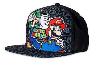 SUPER MARIO BROS. Boys/Youth Flat Bill Baseball Cap Snapback Gamer Hat Ages 4-12