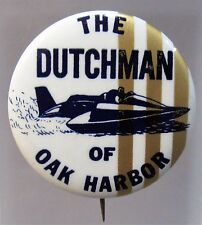 1967 THE DUTCHMAN vertical stripes right Hydroplane pinback button STRAIGHT PIN