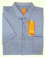 NWT $125 Hugo Boss Blue Shirt SS Mens M L XL XXL ErollesE 50308160 616 Slim Fit