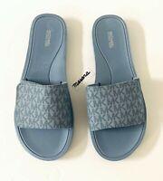 Women Michael Kors MK Wade Slide Sandals Mini MK Logo Blue