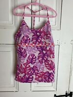 ATHLETA Girls Tankini Swim Pink Surf's Up Size XL 14