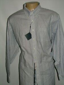 NEW WT BROOKS BROTHERS DRESS SHIRT SIZE 19 37 COTTON BLUE WHITE STRIPED #190