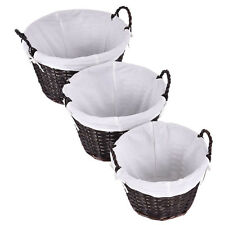 New Set of 3 Round Hand-woven Willow Wicker Storage Basket With White Lining