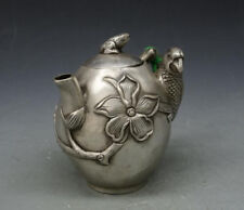 Chinese Old Tibet silver hand engraving Animal Bird Flower Tea Pot Flagon