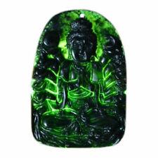 Natural Chinese Black Green Jadeite Jade Pendant Necklace Hand-carved Bodhisattv