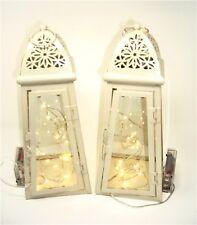 Light cream slanted set 2 Lanterns, 20 micro LED lights indoor/outdoor weddings