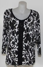 LADIES TOP ANIMAL PRINT FAUX BEADING DETAIL CENTRE FRONT 3/4 SLEEVE SIZE MEDIUM