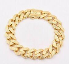 15mm Cubano de Miami Royal link Diamond Cut Caixa Fecho Pulseira De Ouro Amarelo 10K Real