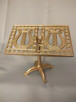 """Miniature Brass Music Stand Ornate 5 1/2"""" tall With Harp Emblem Easel"""