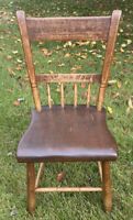 Original Antique One Board Plank Seat Side Desk Accent Chair NJ Pick Up Only
