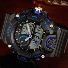 OHSEN Mens Military Army G Style Blue Date Alarm Digit Shock Quartz Wrist Watch