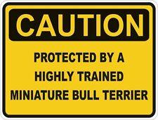 Chien race miniature bull terrier prudence autocollant animal pour pare-chocs porte voiture locker