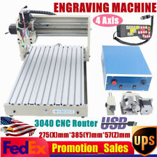 4 Axis400w Motor 3040 Cnc Router Engraver 3d Milling Engraving Machine Usb Rc