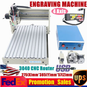 400W Motor 4 Axis 3040 CNC Router Engraver 3D Milling Engraving Machine USB + RC