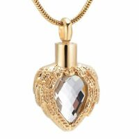 Cremation Memorial Keepsake, Gold Angel Wing Glass Heart Necklace for Ashes/hair