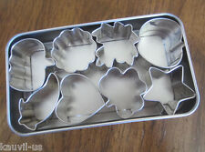 The Pampered Chef Mini Cookie Cutters 8 Piece Set Tin Box Cute