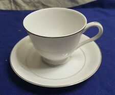 Vintage BRENTWOOD Fine China WHITE LACE Teacup & Saucer Plate