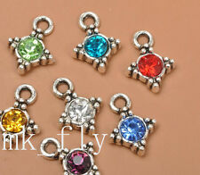 20pcs tibetan silver mix color charms rhinestone  pendants pendant 17x13mm