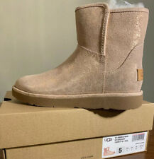 UGG ABREE MINI STARDUST 1094675 ROSE GOLD, SIZE 5 WOMAN'S BOOTS AUTHENTIC NEW