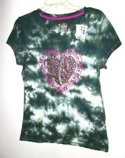 JUSTICE NWT Girls 18 Sparkling Heart Rhinestones Olive Green Cotton Tee Top $24