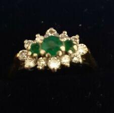 Beautiful vintage 18K WHITE GOLD NATURAL DIAMOND & emerald RING SIZE M1/2, C1/R6