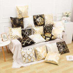 Black and Gold Cushion Cover Geometric Throw Pillow Case Foil Printed Pillowcase