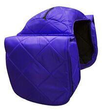 WESTERN HORSE LARGE SADDLE BAG OR MOTORCYCLE SADDLE BAGS BLUE QUILTED NYLON