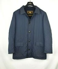 Loro Piana Blazer Coat Navy Quilted 100% Cashmere Lined Jacket Leather Small S