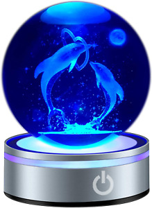 """3D Dolphin Crystal Ball Figurine Lamp 80mm 3.15"""" Laser Engraved Night Light Gift"""