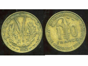OCCIDENTALE AFRICAN FRENCH-AFRIQUE OCCIDENTALE FRANCAISE 10 francs 1957 ( aus